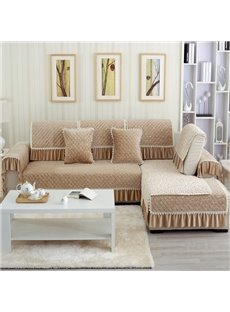 Beige Flowers and Plaid Prints Slip Resistant Sofa Covers