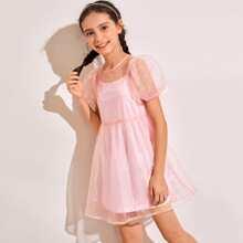 Organza Kleid mit Puffaermeln mit Camisole