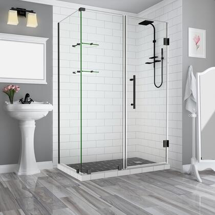 SEN962EZ-ORB-743632-10 Bromleygs 73.25 To 74.25 X 32.375 X 72 Frameless Corner Hinged Shower Enclosure With Glass Shelves In Oil Rubbed