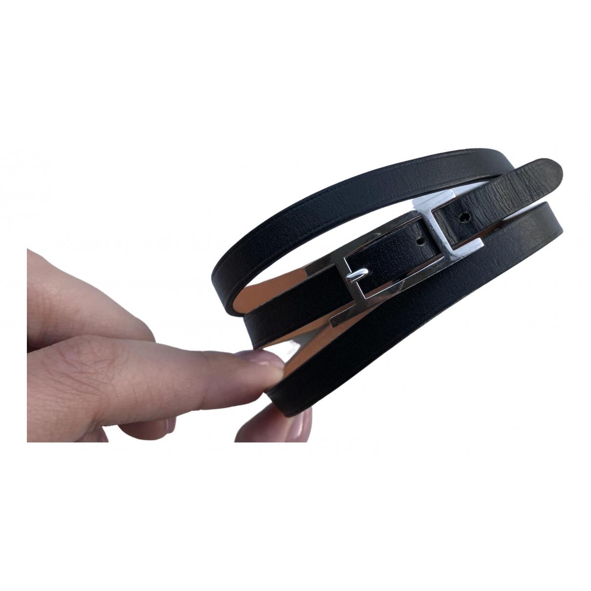 Hermes Behapi Armband in  Schwarz Leder