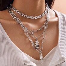 4 Stuecke Halskette mit Stern, Quasten & Dollar Anhaenger