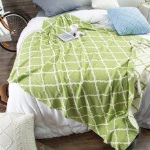 Geometric Pattern Knitted Blanket