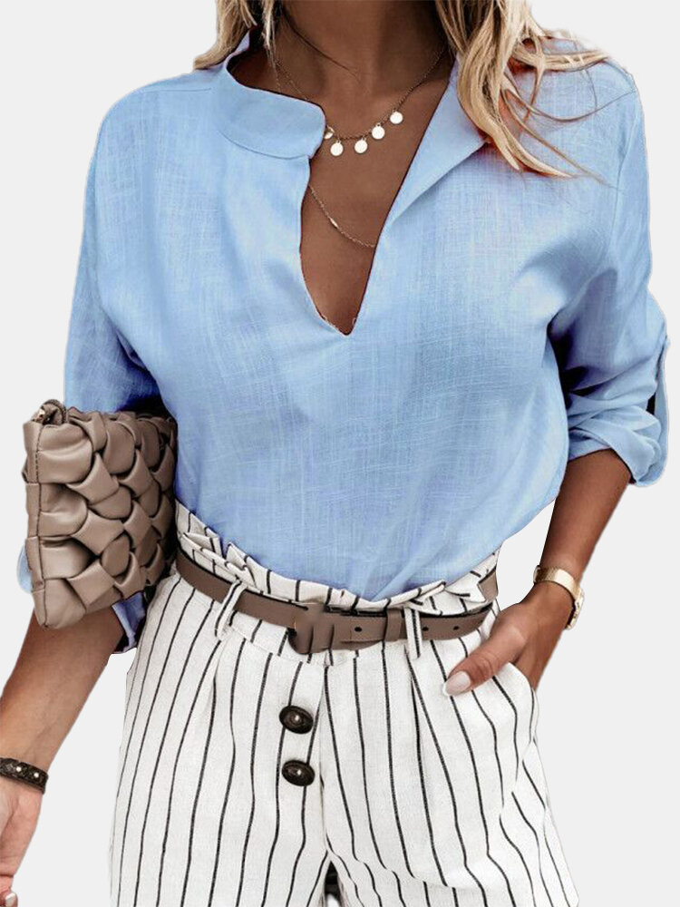 Solid Color Stand Collar Long Sleeve V-neck Casual Shirt For Women
