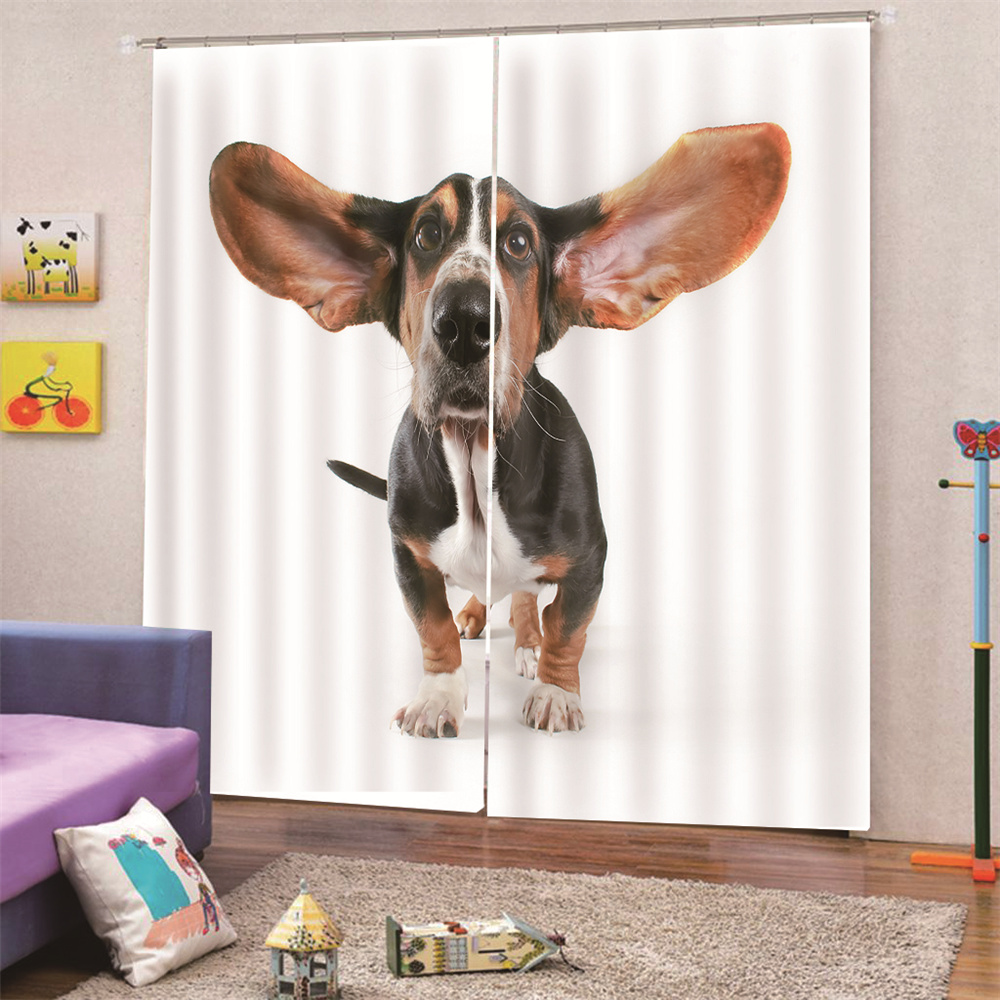 3D Animal Print Blackout and Decorative Ready Made Curtains for Living Room Bedroom