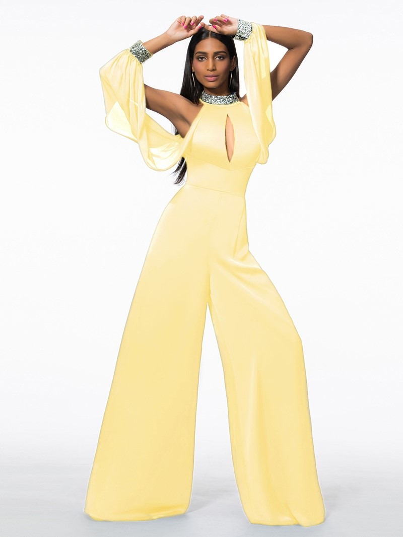 Ericdress High Neck Beading Hollow Long Sleeve Prom Jumpsuit