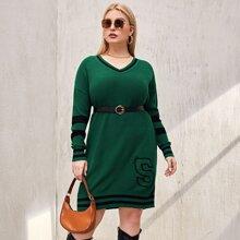 Plus Letter Pattern Striped Sweater Dress Without Belt