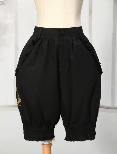 Milanoo Black Cotton Blend Lolita Shorts
