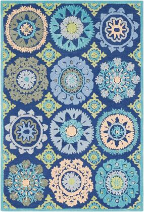 Technicolor TEC-1003 5 x 76 Rectangle Global Rugs in Dark Blue  Light Gray  Mint  Lime  Dark Green