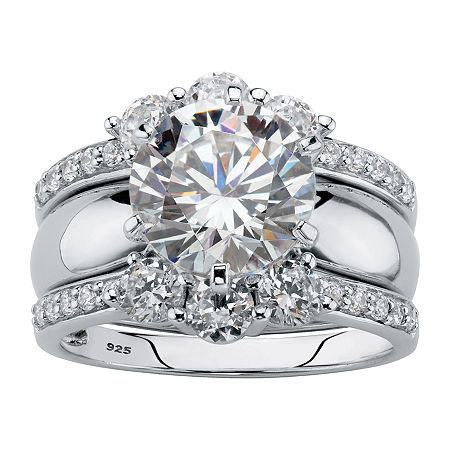 DiamonArt Womens 4 3/4 CT. T.W. White Cubic Zirconia Platinum Over Silver Bridal Set, 6 , No Color Family