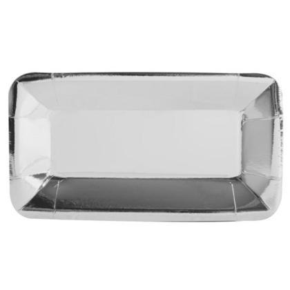 Paper Appetizer Plate Rectangle Foil Silver 9