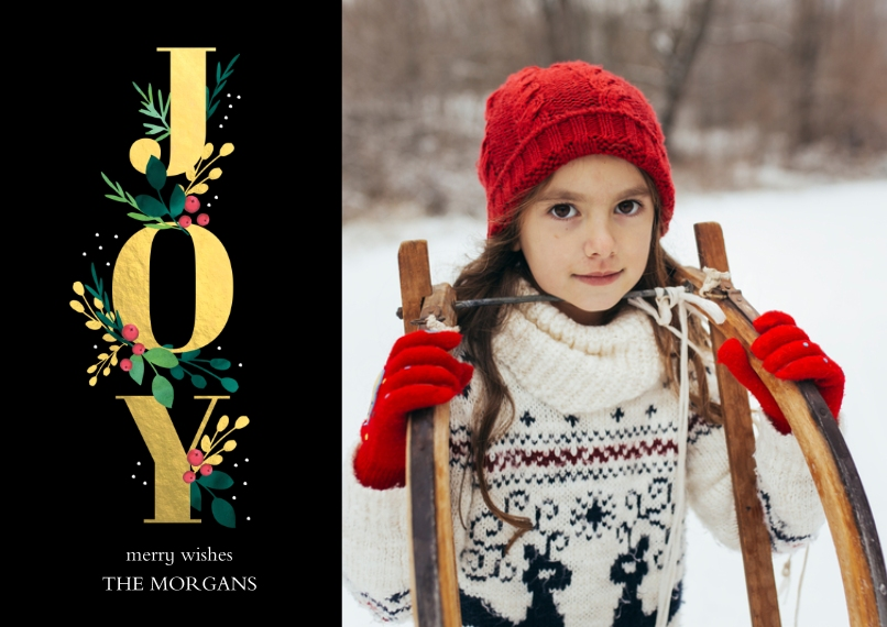 Holiday Photo Cards Flat Matte Photo Paper Cards with Envelopes, 5x7, Card & Stationery -Flourished Joy