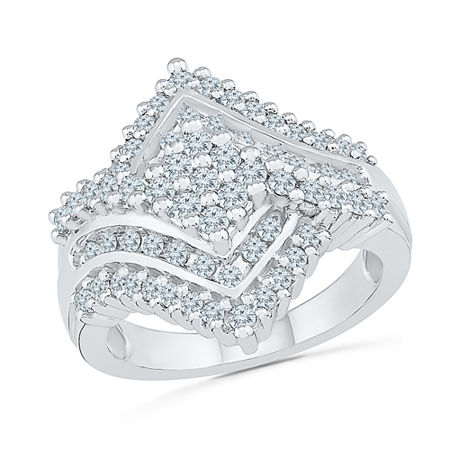 Womens 1 1/8 CT. T.W. Genuine White Diamond 10K White Gold Cluster Cocktail Ring, 6 , No Color Family