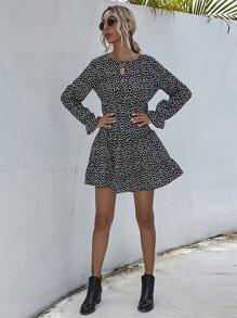 Daisy Floral Flounce Sleeve Ruffle Hem Dress