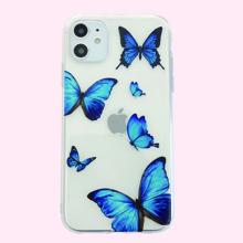 1 pieza funda de iphone transparente con estampado de mariposa
