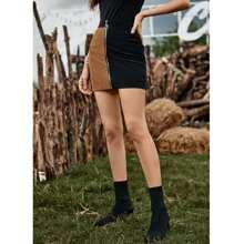 Two Tone Zip Through Corduroy Mini Skirt