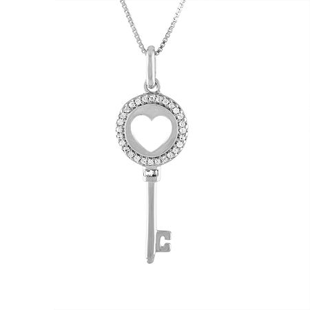 Womens 1/10 CT. T.W. Genuine White Diamond Sterling Silver Keys Pendant Necklace, One Size , No Color Family