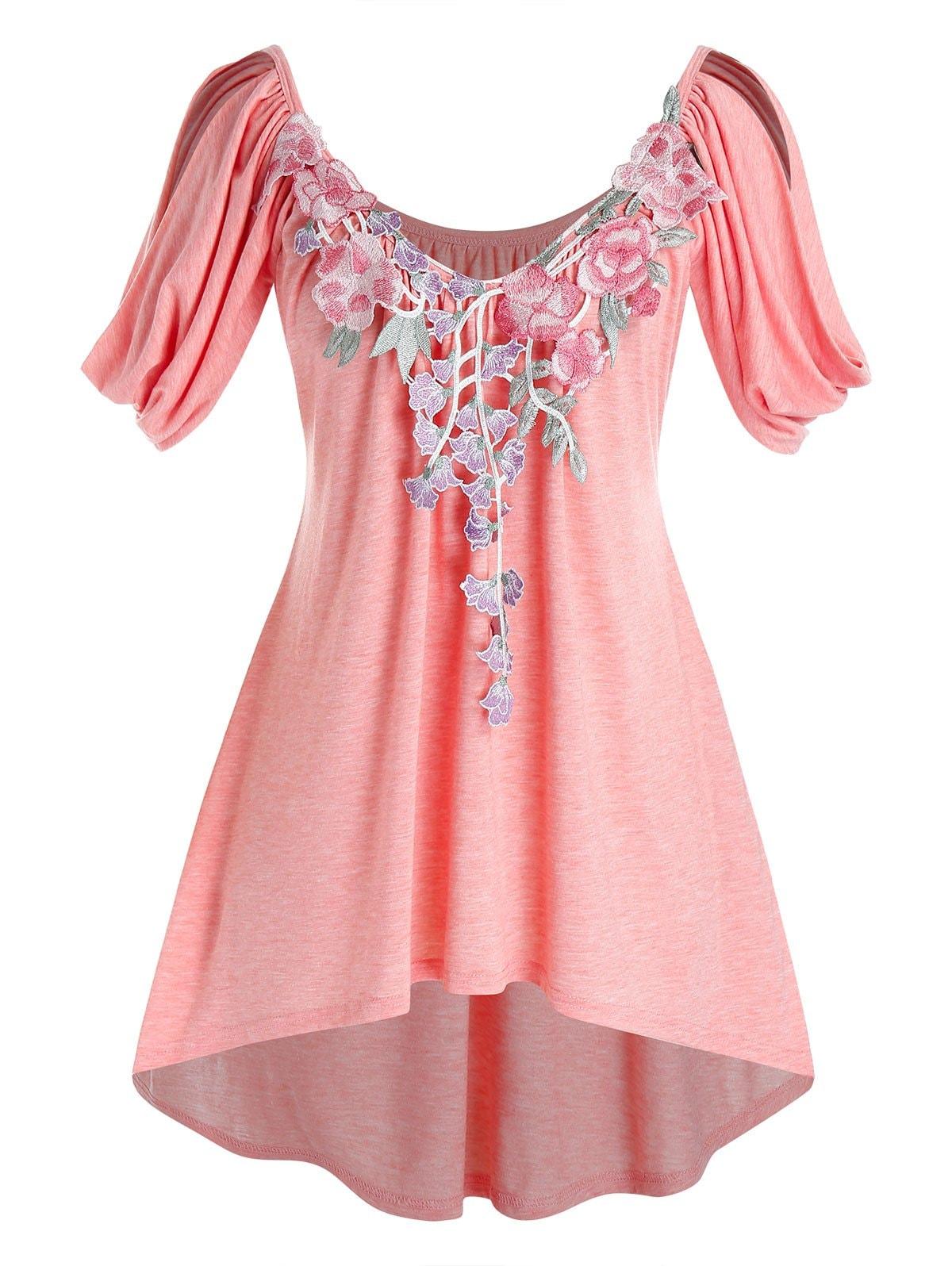 Plus Size Cowl Sleeve Floral Applique High Low T Shirt