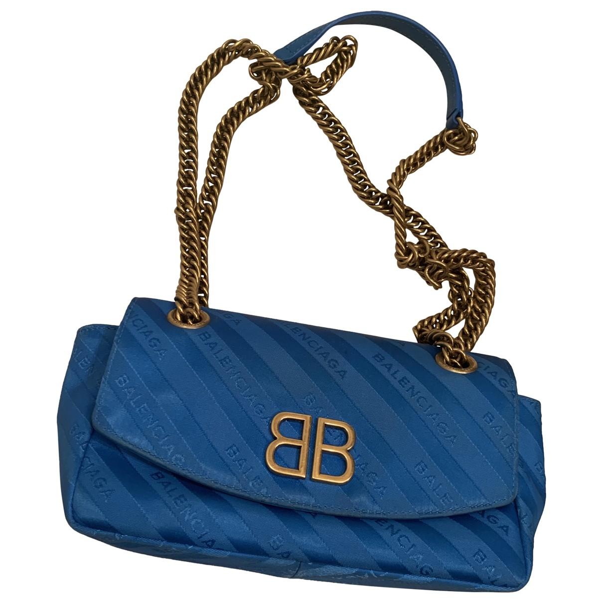 Balenciaga - Sac a main BB chain pour femme en toile - bleu