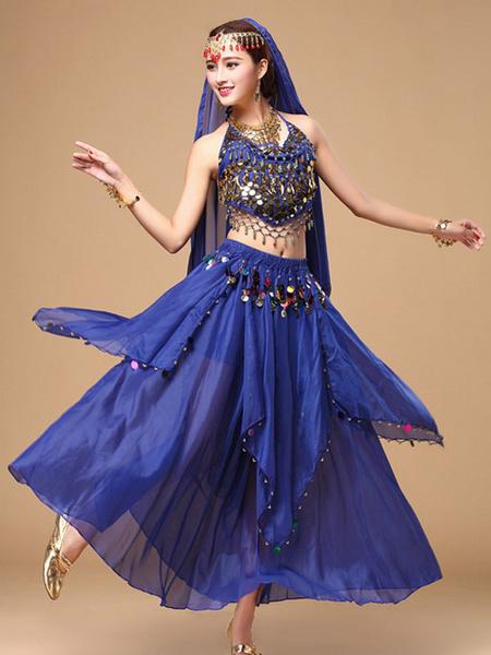 Milanoo Disfraz Halloween Traje de bailarina del vientre gasa destellos  Halloween