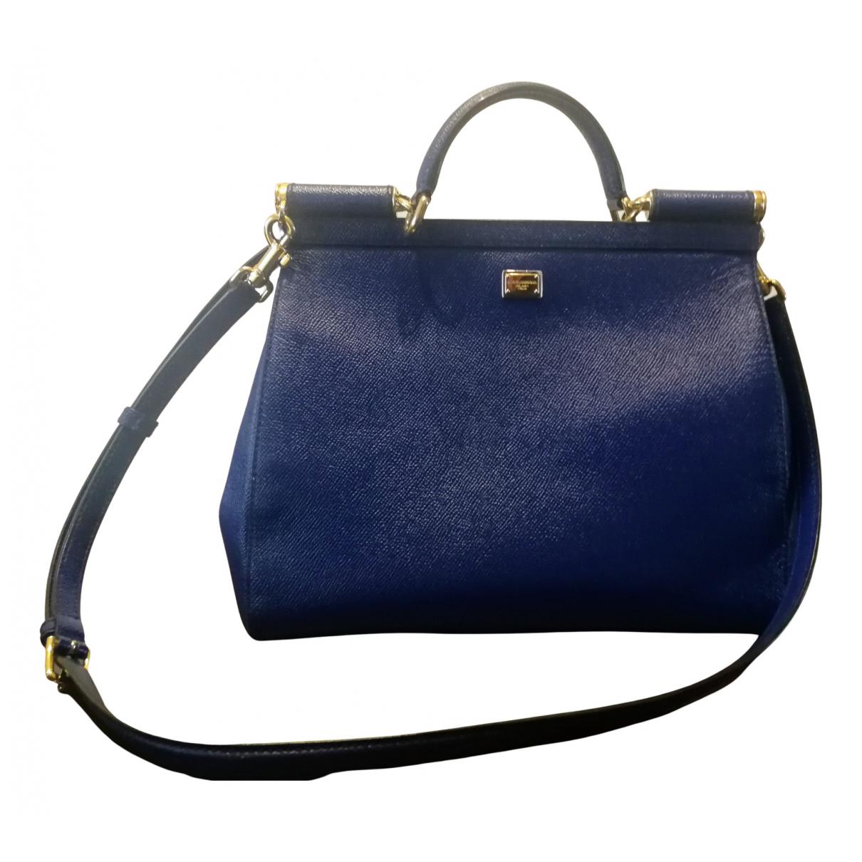Dolce & Gabbana Sicily Handtasche in  Blau Leder