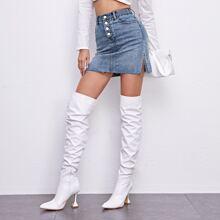 Studded Bead Split Side Raw Hem Denim Skirt