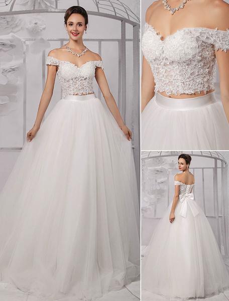Milanoo Vestido de novia con escote de hombros caidos y lazo hasta el suelo