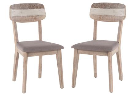 Newport Collection ZWBWDC19V-2X Set of 2 Dining Chairs with Taupe Upholstered Seat in