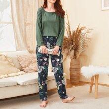 Tropical & Floral Print PJ Set