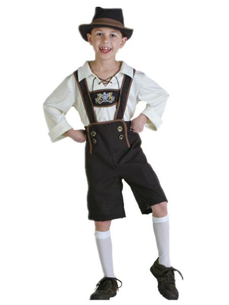 Milanoo Halloween Costumes For Kids Print Double Breasted Oktoberfest Kid Hat Jumpsuit Set