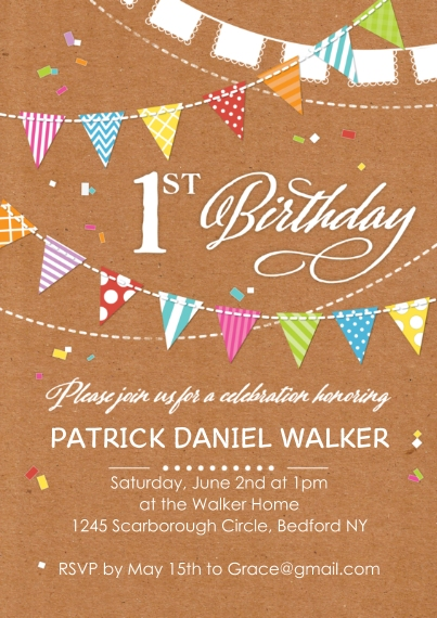 1st Birthday Invitations 5x7 Cards, Premium Cardstock 120lb with Elegant Corners, Card & Stationery -Birthday Flags 1st