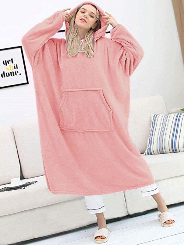 Women Flannel Thicken Warm Wearable Blanket Oversized Hoodies Home Long Sweatshirt With Kangaroo Pocket
