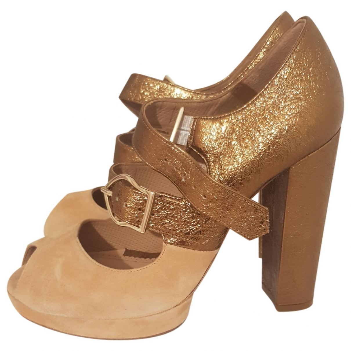 Maloles \N Pumps in  Gold Veloursleder