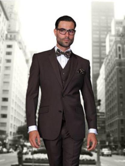 Statement Men's Brown 2 Button Modern Fit Wool Suit