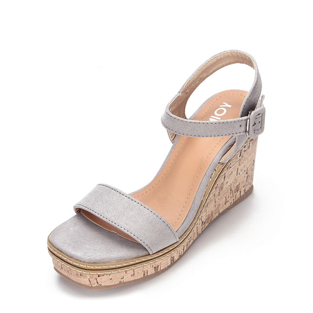 Yoins Grey Suede Look Faux Wood Sole Wedge Sandals