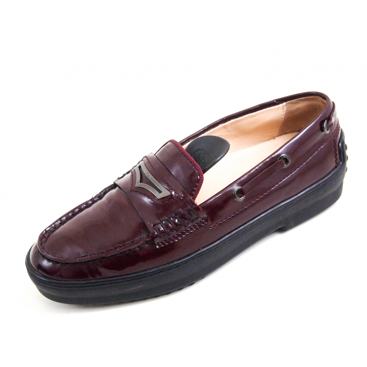 Tod's N Burgundy Patent leather Flats for Women 36 EU