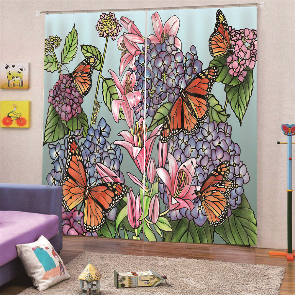 Creative Plant Blackout Window Curtains for Living Room Bedroom 200g/m² Polyester 70% Shading Rate and UV Rays Environmentally Friendly Printing and D