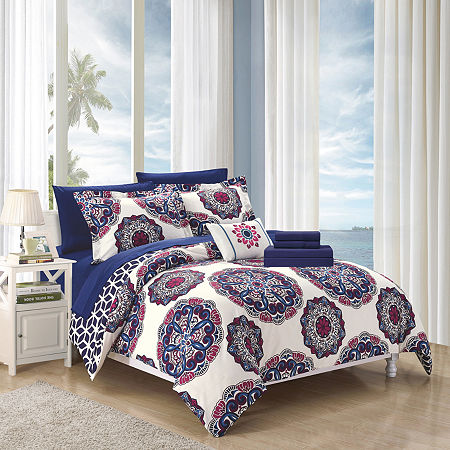 Chic Home Barcelona Midweight Reversible Comforter Set, One Size , Blue