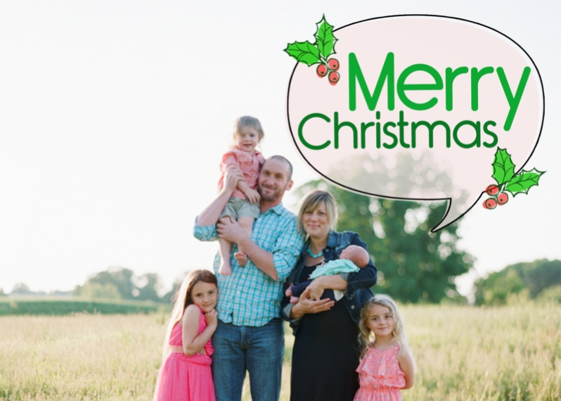 Christmas Photo Cards 5x7 Folded Cards, Premium Cardstock 120lb, Card & Stationery -Christmas Holly