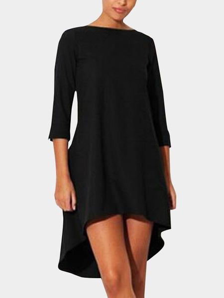 Yoins Black Irregular Hem Bateau Midi Dress