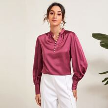 Lantern Sleeve Buttoned Front Satin Top