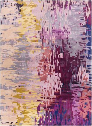 Banshee BAN-3344 8' x 11' Rectangle Modern Rug in Dark Purple  Lime  Camel  Garnet  Bright
