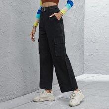 Flap Pocket Pants Without Belt