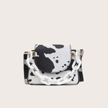 Cow Print Mini Satchel Bag
