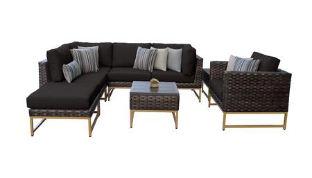 Barcelona BARCELONA-08m-GLD-BLACK 8-Piece Patio Set 08m with 2 Corner Chairs  1 Club Chair  2 Armless Chairs  1 Ottoman and 2 End Tables - Beige and