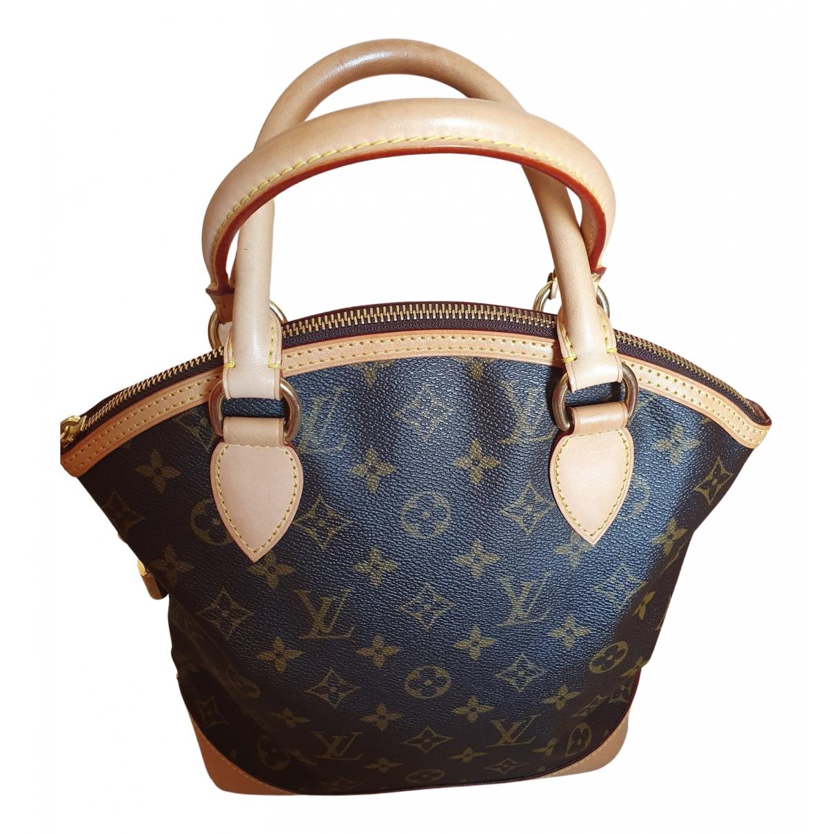 Louis Vuitton Lockit Vertical Handtasche in  Braun Leinen