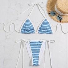 Dreieckiger Bikini Badeanzug mit Streifen und Neckholder