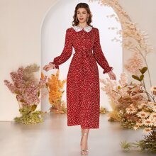 Kleid mit Kontrast Kragen, Bluemchen Muster und Guertel