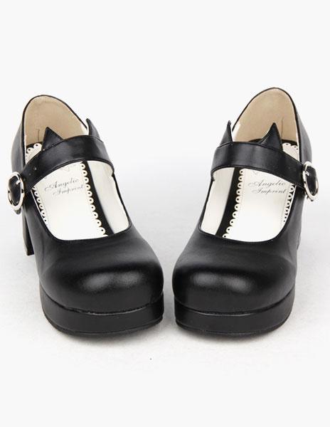 Milanoo Black Round Toe PU Lolita Shoes for Girls
