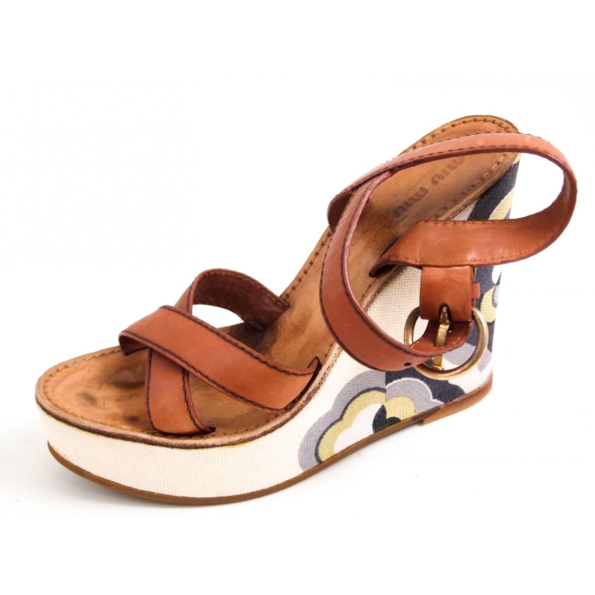 Miu Miu \N Brown Leather Sandals for Women 37.5 EU