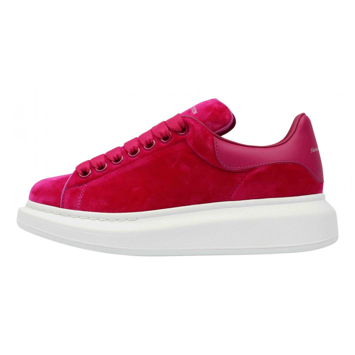 Alexander Mcqueen Oversize Pink Velvet Trainers for Women 40 EU